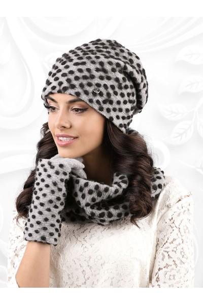 GROSSETO к-т2 шапка+снуд+перчатки женские